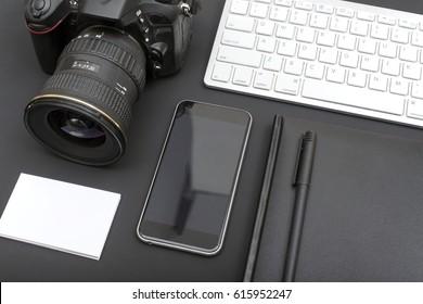 photographers desk closeup