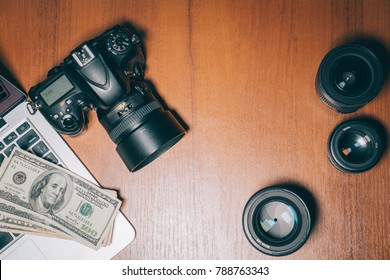 photographer's desk on which his instruments and cash are located, top view