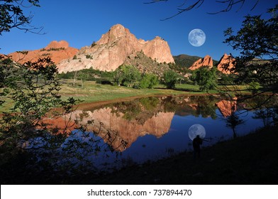 A Photographer's Dream at The Garden of the Gods Park taken after a twice in a Century downpour of rain created this amazing reflection pond, Colorado Springs, Colorado, USA.