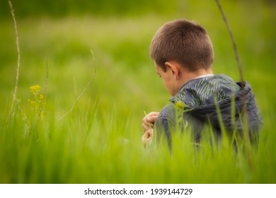 a photographic image of a boy in a jacket with a hood close-up on the right side of the composition sits on the grass with his back, his face half turned and holds a blade of grass in his hands.