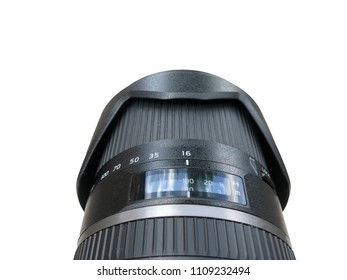 photographic objective of dslr camera with photographer subjective view isolated over a white background
