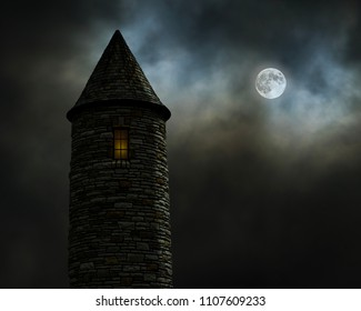 Photographic recreation set in a world of fantasy or science fiction; a castle and the full moon at night.
