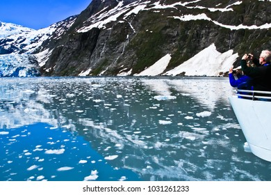 photographic scene of surprise glacier viewed from boat prince william sound alaska usa