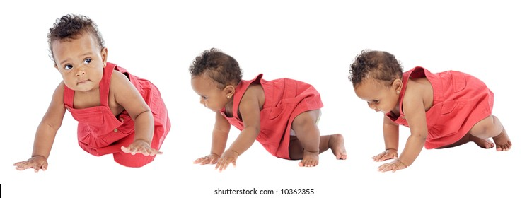 Photographic sequence Of a baby learning to walk