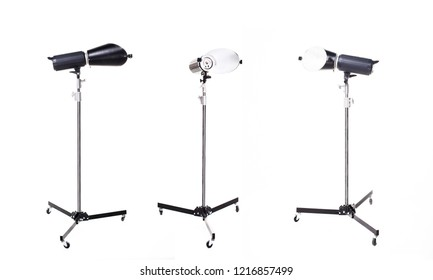 Photographic studio light. Studio lighting equipment isolated on white background.