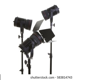 Photographic studio lights on a white background