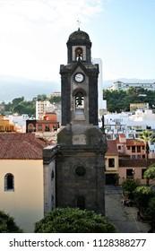 photographs of the church of the Puerto de la Cruz village in Tenerife, a great tourist destination,