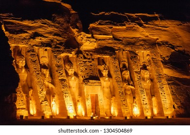 Photography of Abu Simbel Small Temple in Night Time