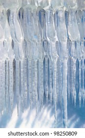 Photography of amazing natural icicle decoration in the winter