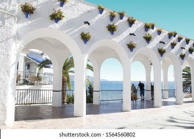 photography from the balcony of Europe, Mediterranean Sea, Nerja, Málaga, Spain, one of the white villages of Andalusia, Spain, holidays, touristic point, famous place, sea, sun, beach, tourist city,