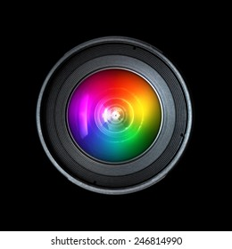 Photography camera lens, front view isolated on black background