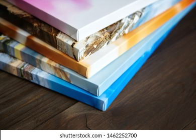 Photography canvas prints. Stacked colorful photos with gallery wrapping method of canvas stretching on stretcher bar, lateral side - Shutterstock ID 1462252700