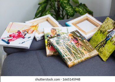 Photography canvas prints. Stacked colorful photos with gallery wrapping method of canvas stretching on stretcher bar, lateral side - Shutterstock ID 1665145948