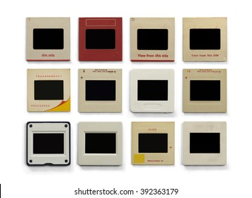 Photography empty slide frames isolated on a white background.