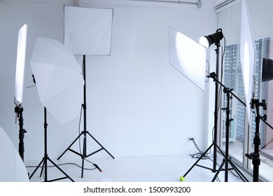 Photography equipment lighting system camera portrait professional studio set up position with white background