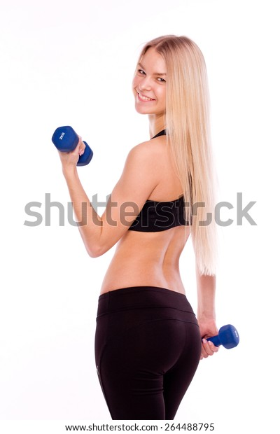 Photography Fitness Woman Holding Dumbbells Portrait Stock