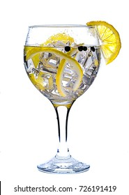 photography of a gin and tonic on white background