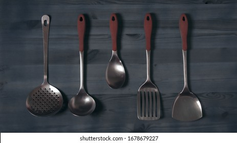 Photography of household items for cooking utensils for the food skimmer saucepan and others with vintage style