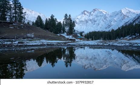 The photography of Nanga Parbat mountain range with water reflection ,gilgit-baltistan , Pakistan