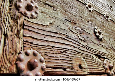 photography of old wood textures with rusty iron rivets, old craft of cabinetmaker and carpenter