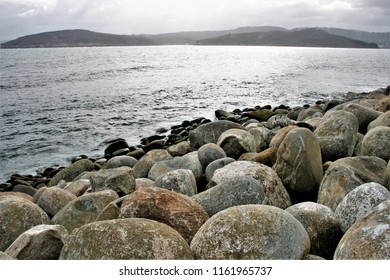 photography of the Phoenician breakwater of the port of Bares, A Coruña, Galicia,