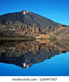 photography with reflection in the water of The Teide, Tenerife, spain, peace, harmony, tranquility, serenity, meditation, transcendence, relaxation, balance,