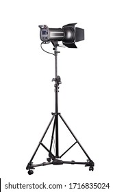 Photography studio flash on a lighting stand isolated on white background with lamp. Proffetional equipment like monobloc or monolight
