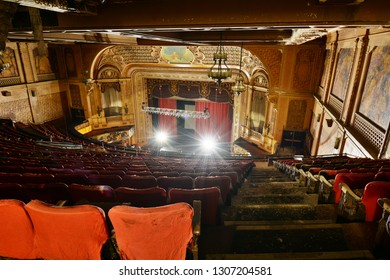 Photography Tour - Looking Down from Top of Balcony Toward Screen In Paramount Theater at 1676 Main Street, Springfield, MA on October 27, 2018