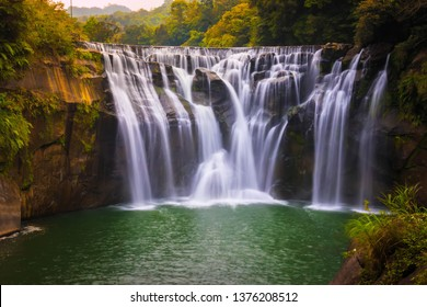 Photography view Shifen Waterfall. Famous nature landscape of Taiwan, shot in Pingxi District New Taipei Taiwan.