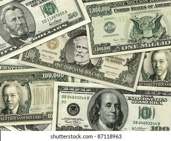 Photo-Illustration of large denomination U.S Currency. I illustrated and used parts from lower denomination bills and old U.S, postage stamps to recreate the $1000, $100,000, and the $1,000,000 bills.