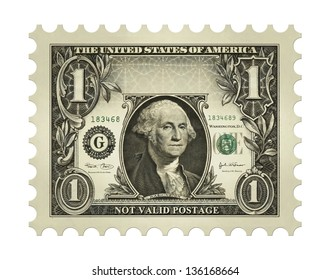 Photo-Illustration using a one dollar bill retouched and re-illustrated to create a faux postage stamp.