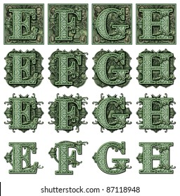 Photo-Illustration using parts of U.S. currency bills retouched and re-illustrated to create a new Money-themed alphabet. Also see my upper case ornamental files.