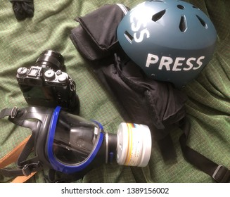 Photojournalism equipment for covering the protests in Paris, France.