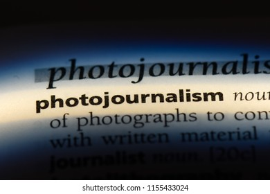 photojournalism word in a dictionary. photojournalism concept.