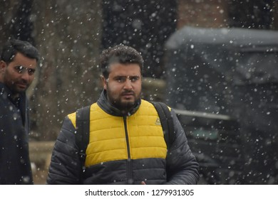 Photojournalist Shakir Wani during Snowfall on 05 January 2019 while performing his professional duty in Qazigund Kashmir.