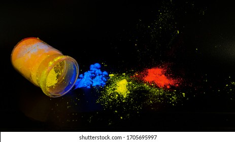 Photoluminescence chemical materials, called fluorescent. Powder glows in the dark under UV light radiation of different colors. For OLED displays manufacturing.