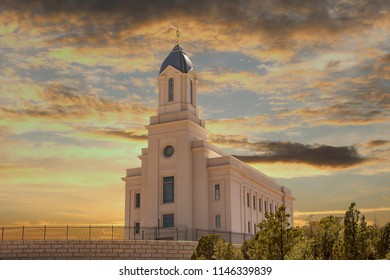 Photomanipulation of the Cedar City Utah Temple.