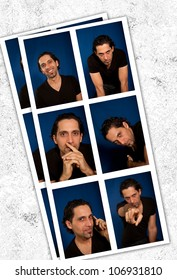 photomaton style concept with blue background and white frame