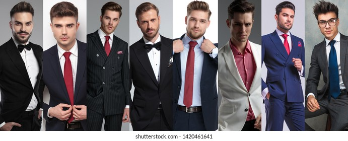 Photomontage of eight young casual men posing while wearing suits