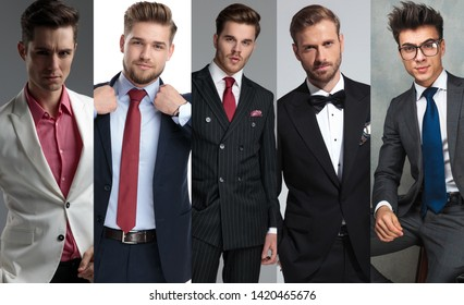 Photomontage of five different elegant young man wearing suits and posing