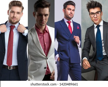 Photomontage of four handsome young men wearin suits