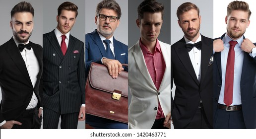 Photomontage of six different attractive men's portraits wearing suits and posing