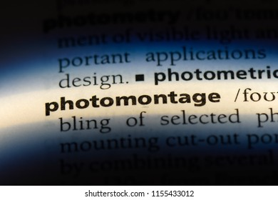 photomontage word in a dictionary. photomontage concept.