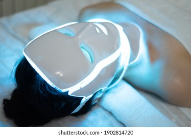 photon mask. Health and beauty. Cosmetic procedure for woman face. Beauty laboratory. LED Facial Mask, Photon Therapy. Photo shows the different modes, colors