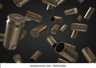 Photorealistic 3D illustration of Flying bullet shells on a black background