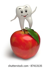 Photo-realistic 3d render of a white smiling tooth jumping on a highly detailed apple with leaves
