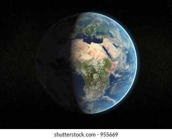 Photorealistic 3D rendering of planet earth viewed from space (Africa and Europe - partial light).