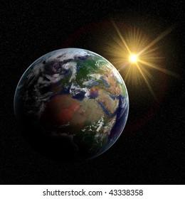 Photorealistic earth visualization with sun