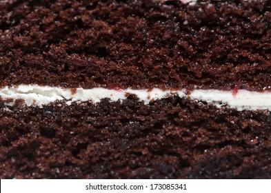Photos of chocolate Cake of close-up shooting.