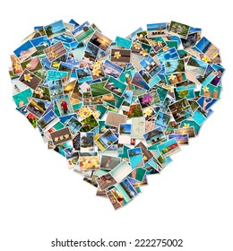 Photos collage in the shape of a heart isolated on white background